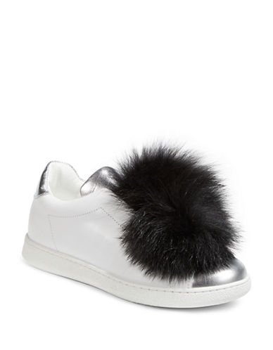 Joshua Sanders Fox Fur Pom Pom Two-Tone Sneakers-BLACK-EUR 35/US 5