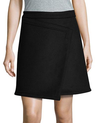 Carven Asymmetric Wool-Blend Mini Skirt-BLACK-40
