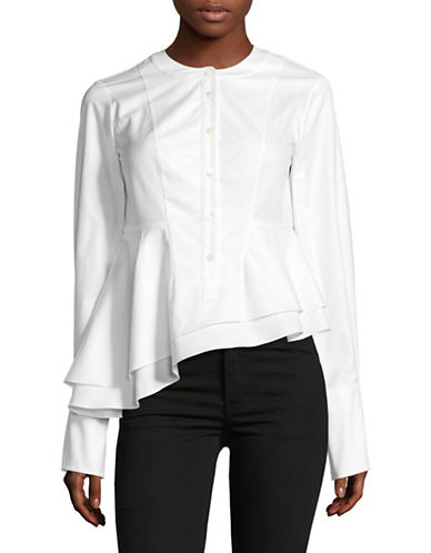 Carven Tiered Asymmetrical Blouse-WHITE-34