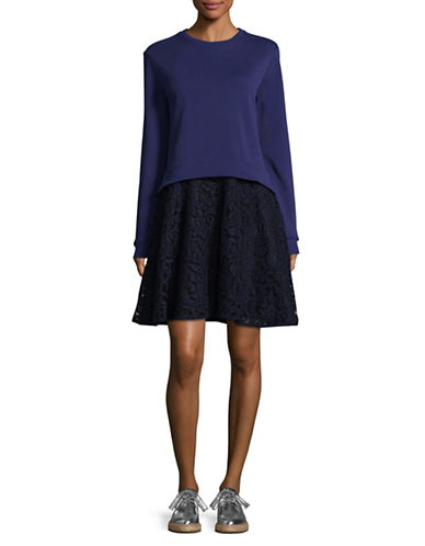 Carven Sweatshirt Lace Dress-BLUE-Medium