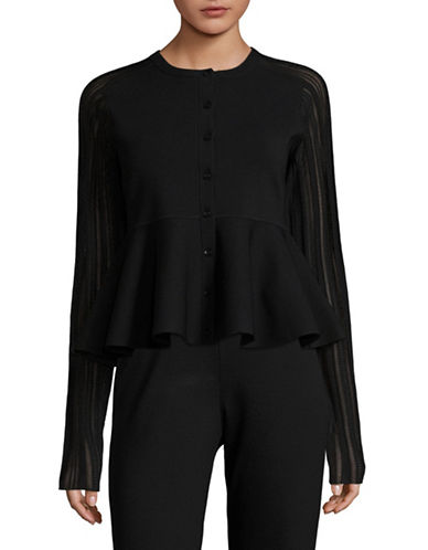 Carven Peplum Cardigan-BLACK-Medium