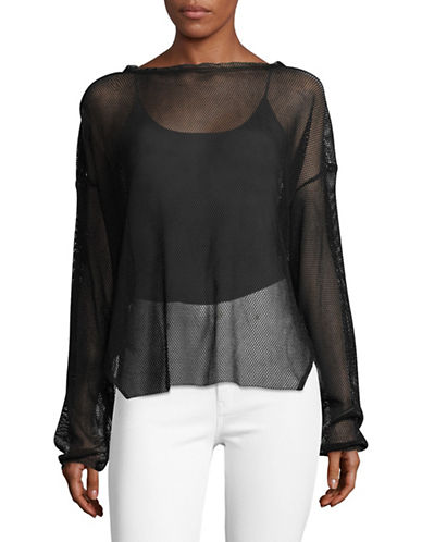 Rachel Comey Long Sleeve Mesh Boat Neck Top-BLACK-6