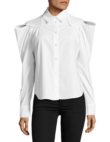 Rachel Comey Crescent Overlap Shoulder Shirt-WHITE-4