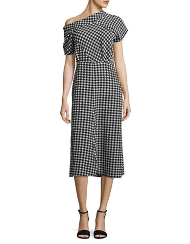 Rachel Comey One-Shoulder Gingham Check Dress-BLACK-8