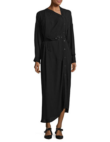 Rachel Comey Asymmetric Belted Shirt Dress-BLACK-4