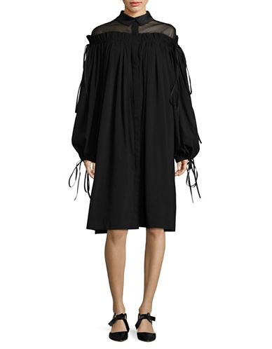 Paskal Off-Shoulder Puff-Sleeve Dress-BLACK-Medium