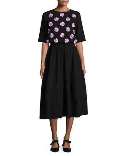 Paskal Floral Applique Midi Dress-BLACK MULTI-Large