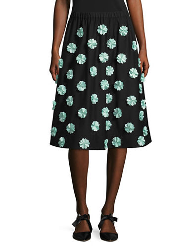 Paskal Floral Applique Skirt-BLACK MULTI-Medium