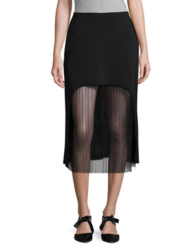 Paskal Cut-Out Pleat Midi Skirt-BLACK-X-Small