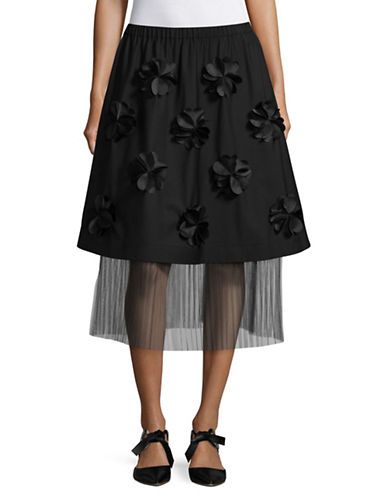 Paskal Origami Flower Double Layer Skirt-BLACK-Large
