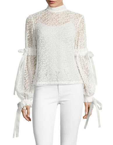 Paskal Tie-Sleeve Lace Turtleneck-WHITE-Small