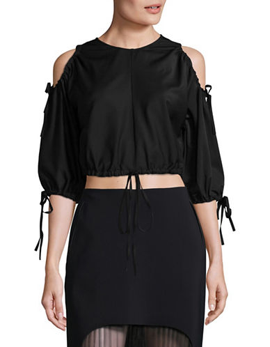 Paskal Drawstring Cold-Shoulder Top-BLACK-X-Small