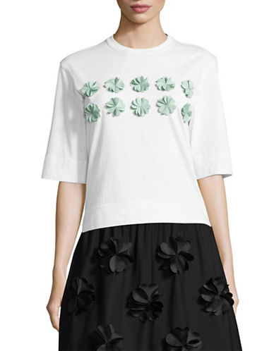 Paskal Flora Applique T-Shirt-WHITE-X-Small