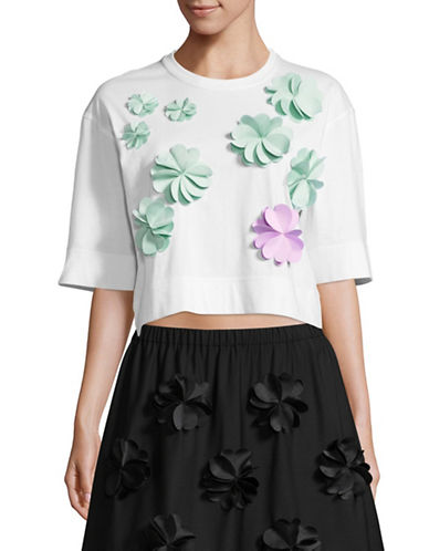Paskal Floral Cropped T-Shirt-WHITE-X-Small