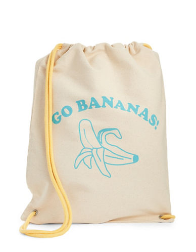 The Birdie Collection Go Bananas Canvas Drawstring Bag-NATURAL-One Size