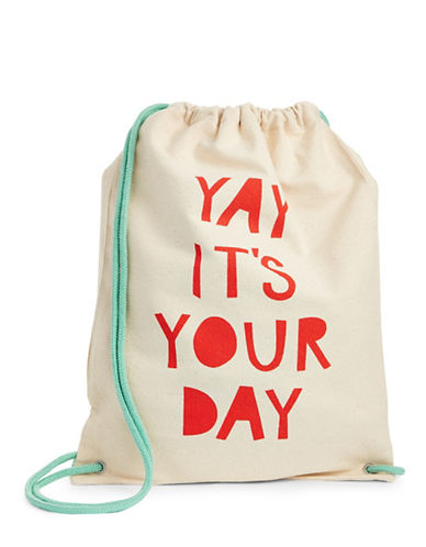 The Birdie Collection Your Day Canvas Drawstring Bag-NATURAL-One Size