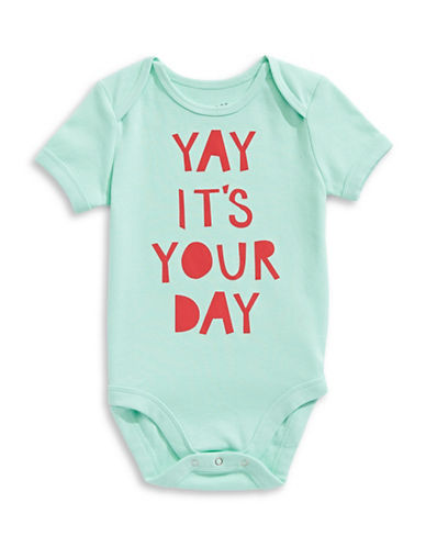 The Birdie Collection Yay Its Your Day Cotton Bodysuit-YUCCA-6-12 Months