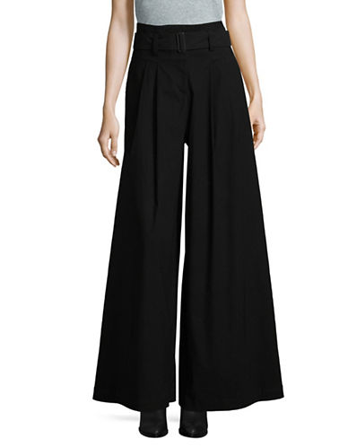 Sea Ny Linen-Blend Belted Wide-Leg Pants-BLACK-2