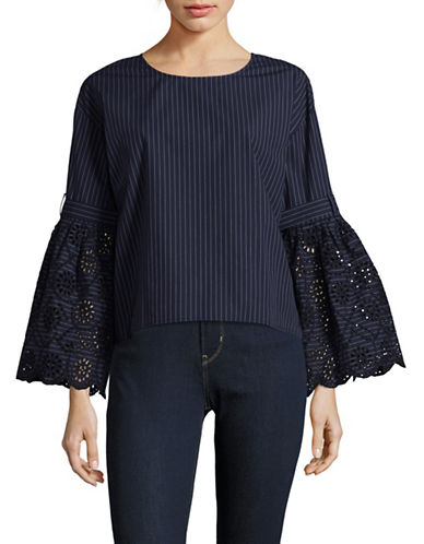 Sea Ny Eyelet Bell Sleeve Blouse-BLUE-0