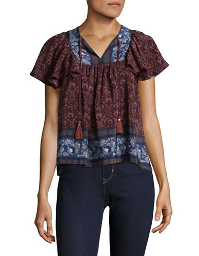 Sea Ny Silk Peasant Top-RED-6