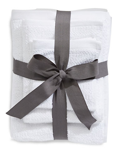 Distinctly Home Six-Pack Textured Cotton Towel Bundle Set-WHITE-One Size