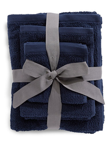 Distinctly Home Six-Pack Textured Cotton Towel Bundle Set-NAVY-One Size