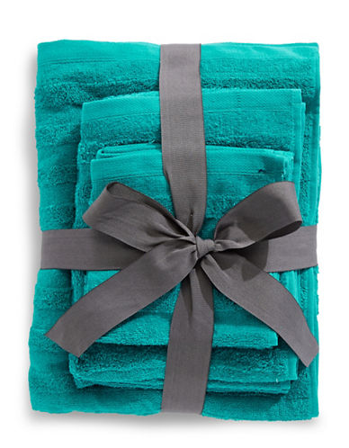 Distinctly Home Six-Piece Cotton Towel Bundle-AQUA-One Size