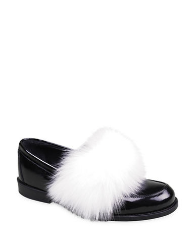 Joshua Sanders Foxy Fur and Leather Loafers-BLACK-EUR 36/US 6