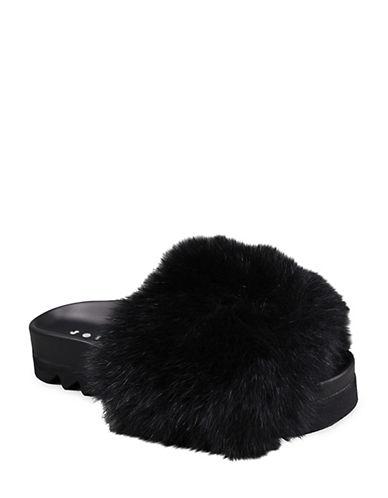 Joshua Sanders Foxy Fur Slides-BLACK-EUR 37/US 7