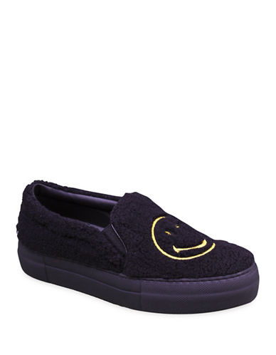 Joshua Sanders Smile Fleece Slip-On Shoes-BLACK-EUR 35/US 5