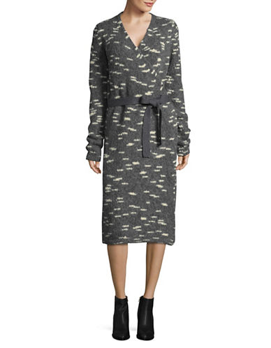 Carven Printed Long Sleeve Wrap Dress-GREY-X-Small