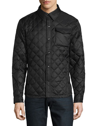 F.O.G. By London Fog Quilted Puffer Shirt Jacket-BLACK-X-Large
