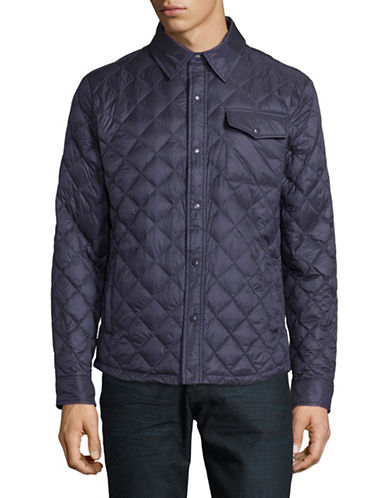 F.O.G. By London Fog Quilted Puffer Shirt Jacket-NAVY-X-Large