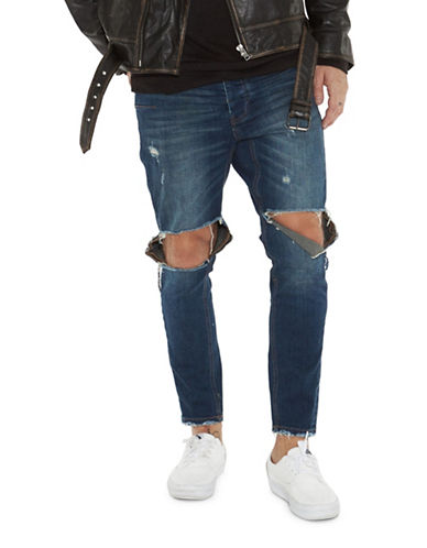 Man X One Teaspoon Mr Blues Ripped Skinny Jeans-BLUE-32
