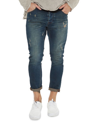 Man X One Teaspoon Mr Blues Ripped Skinny Jeans-BLUE-36