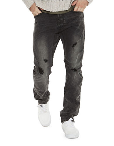 Man X One Teaspoon Mr Whites Distressed Jeans-BLACK-30