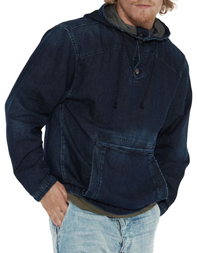 Man X One Teaspoon Denim Hooded Pullover-BLUE-Small