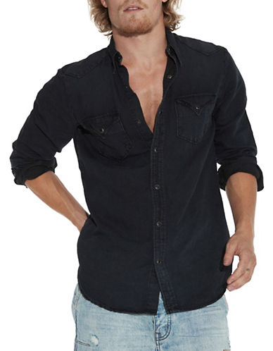Man X One Teaspoon Linen-Cotton Sport Shirt-BLACK-Medium
