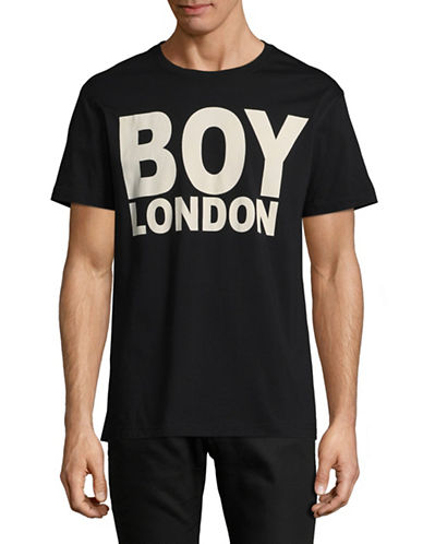 Boy London Logo-Print Tee-BLACK/WHITE-Small