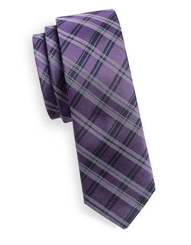 Haight And Ashbury Plaid Silk Tie-PURPLE-One Size