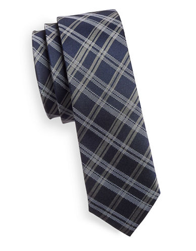 Haight And Ashbury Slim Silk Plaid Tie-NAVY-One Size