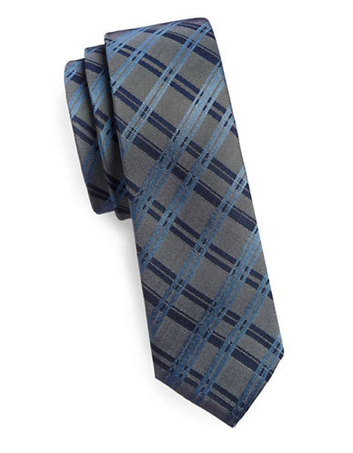 Haight And Ashbury Slim Silk Plaid Tie-GREY-One Size
