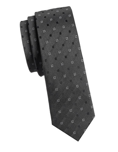 Haight And Ashbury Slim Geo Link Silk Tie-BLACK-One Size