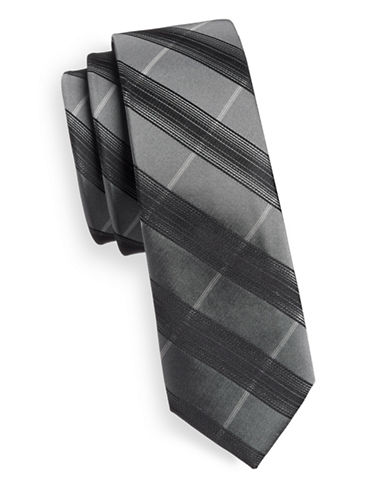 Haight And Ashbury Slim Geo Link Silk Tie-BROWN-One Size