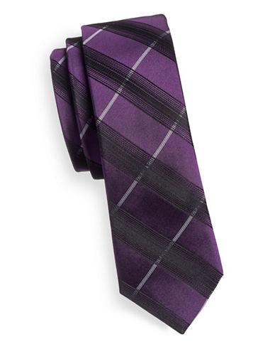 Haight And Ashbury Slim Silk Plaid Tie-PURPLE-One Size
