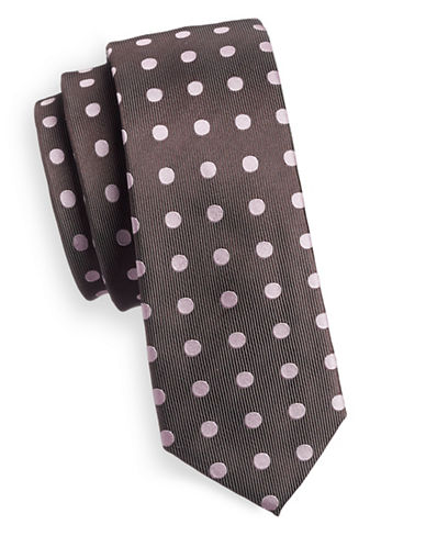 Haight And Ashbury Polka Dot Slim Tie-BROWN-One Size