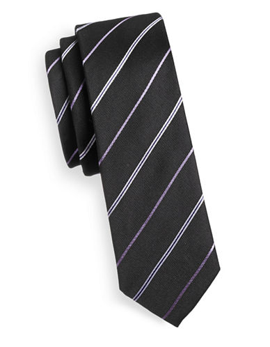 Haight And Ashbury Diagonal Stripe Slim Tie-BLACK-One Size