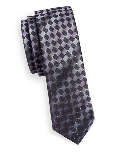 Haight And Ashbury Diamond Pattern Slim Tie-PURPLE-One Size