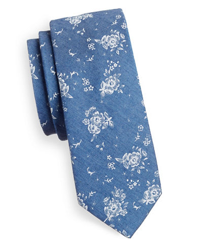 Haight And Ashbury Slim Floral Denim Tie-BLUE-One Size