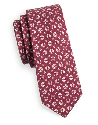 Haight And Ashbury Circle Print Skinny Tie-BURGUNDY-One Size